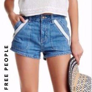 {FREE PEOPLE} high waisted/rise denim shorts 25